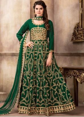 Art Silk Green Lace Floor Length Anarkali Suit