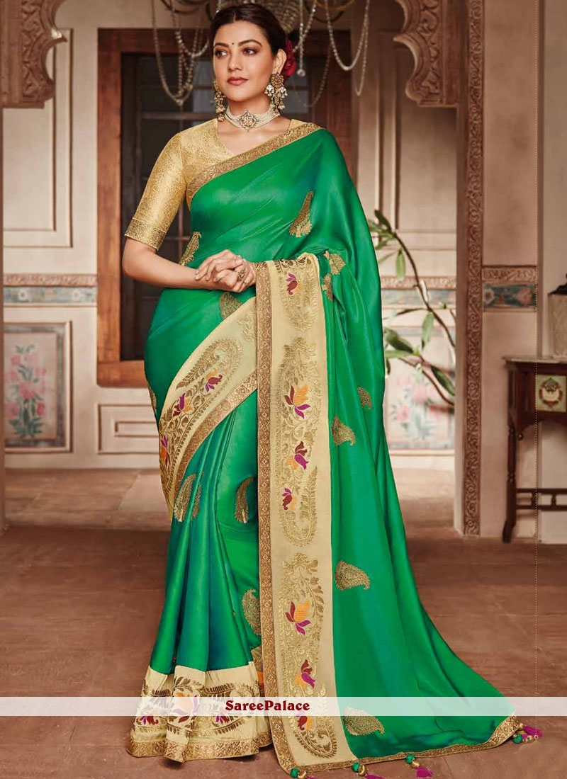 Art Silk Green Patch Border Trendy Saree