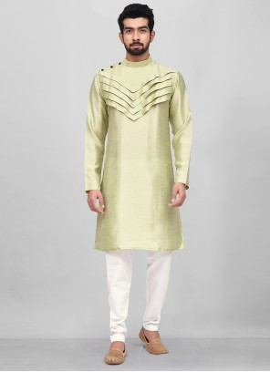 Art Silk Green Plain Kurta Pyjama