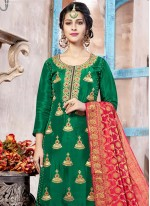Art Silk Green Punjabi Suit