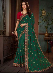 Art Silk Green Resham Traditional  Saree