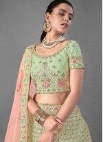 Art Silk Green Sequins Designer Lehenga Choli