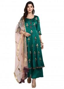 Art Silk Green Thread Designer Pakistani Salwar Suit