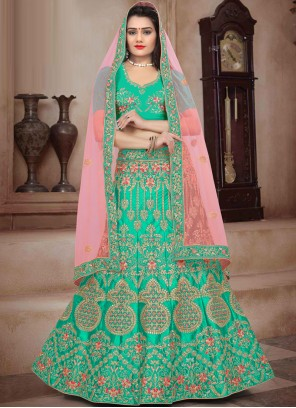 Art Silk Green Trendy Lehenga Choli