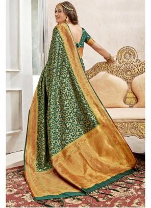 Art Silk Green Weaving Saree