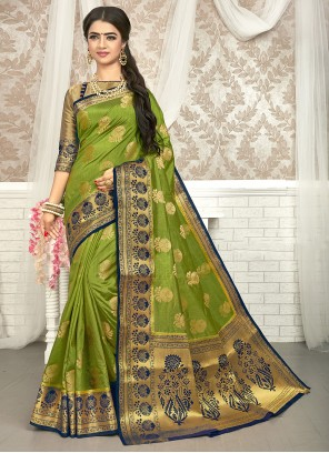 Art Silk Green Weaving Traditional Saree