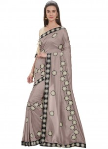 Art Silk Grey Embroidered Designer Traditional Saree