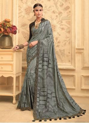 Art Silk Grey Embroidered Traditional Designer Saree