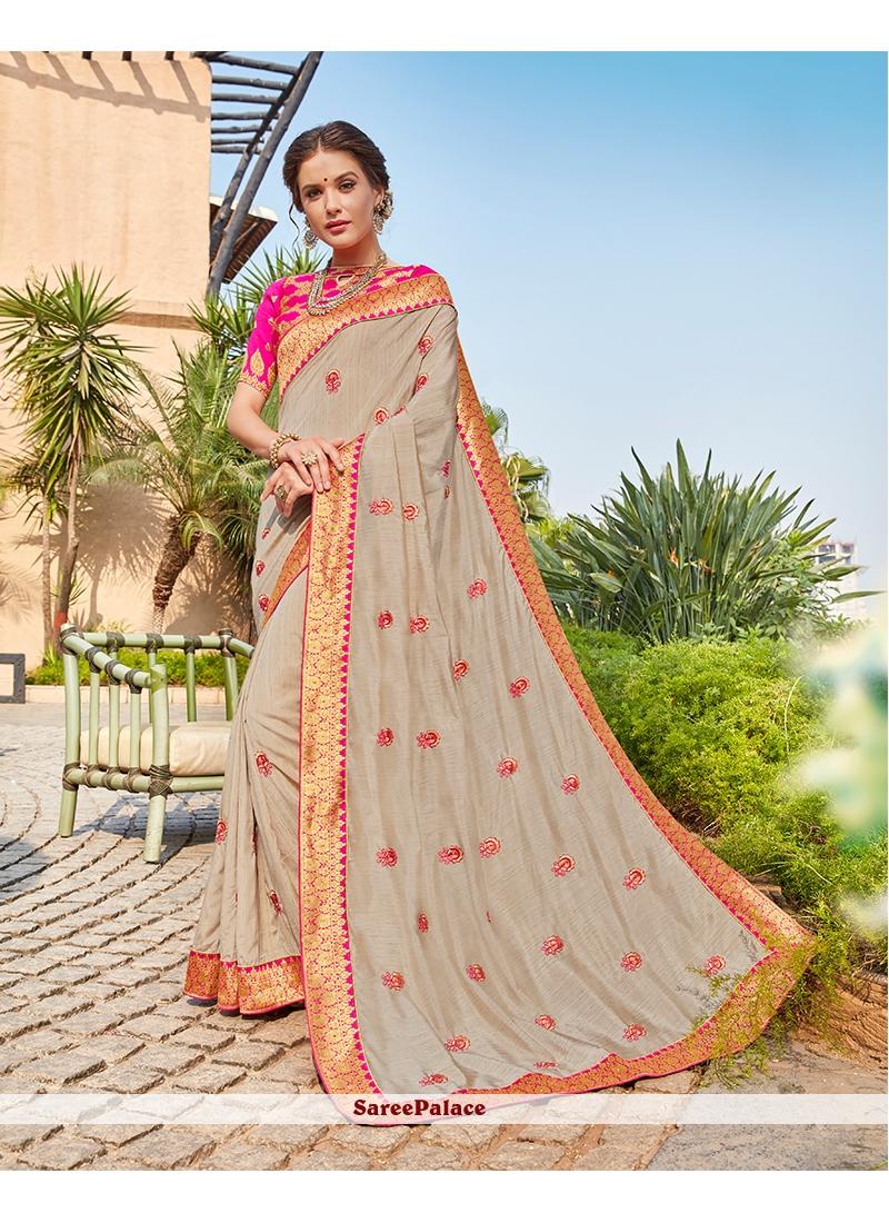 Art Silk Grey Embroidered Work Designer Traditional Saree