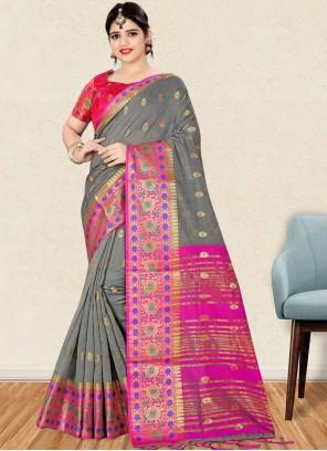 Art Silk Grey Traditional Designer Saree