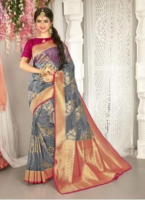 Art Silk Grey Weaving Zari Traditional Saree