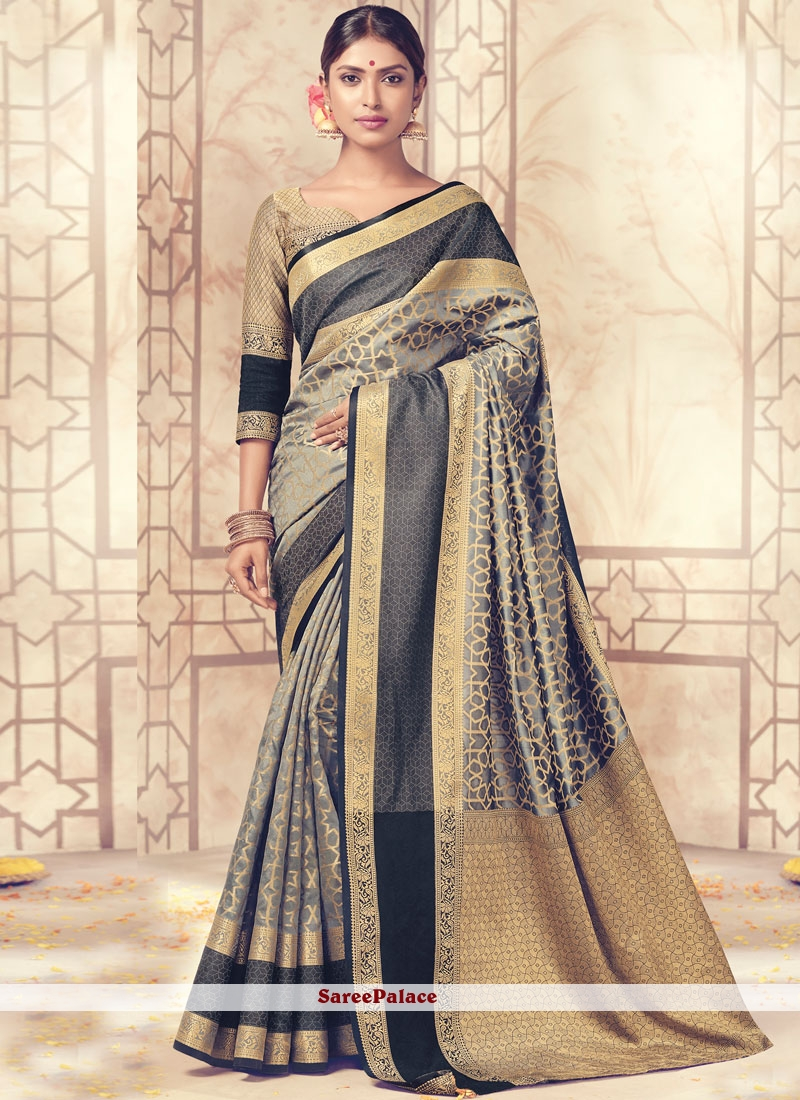 Art Silk Grey Traditional  Saree