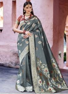 Art Silk Grey Weaving Traditional Designer Saree