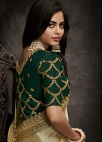 Art Silk Half N Half  Saree in Beige and Green