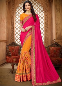 Art Silk Hot Pink and Yellow Embroidered Saree