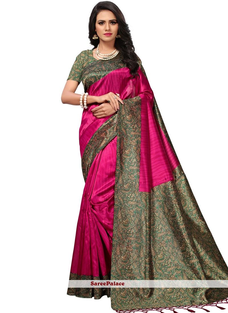 Art Silk Hot Pink Casual Saree