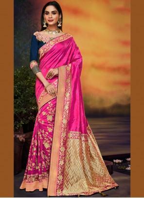 Art Silk Hot Pink Embroidered Designer Traditional Saree