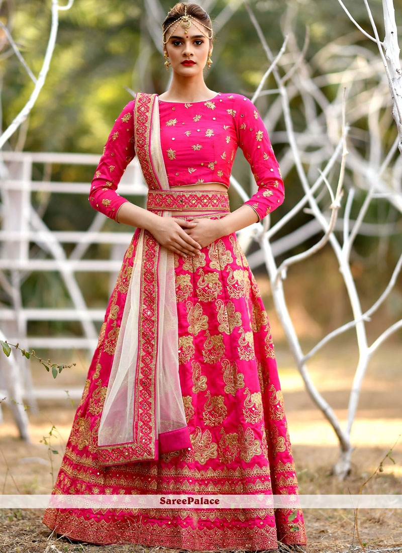 7a8d91b34a0 Buy Art Silk Hot Pink Embroidered Lehenga Choli Online