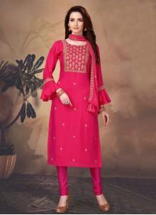 Art Silk Hot Pink Fancy Designer Suit