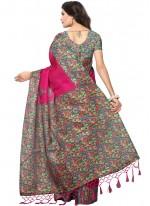 Art Silk Hot Pink Print Work Casual Saree