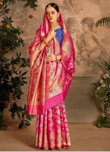 Art Silk Hot Pink Traditional Designer Saree