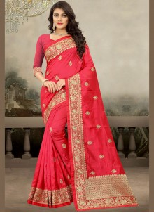 Art Silk Hot Pink Traditional Saree