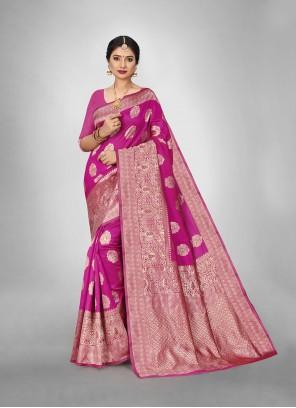 Art Silk Hot Pink Trendy Saree