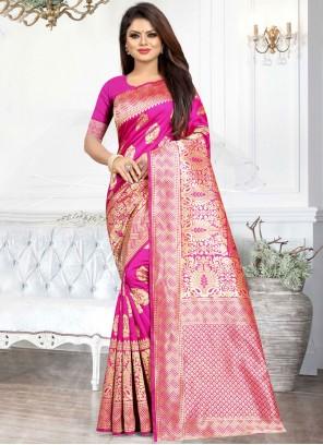 Art Silk Hot Pink Weaving Casual Saree
