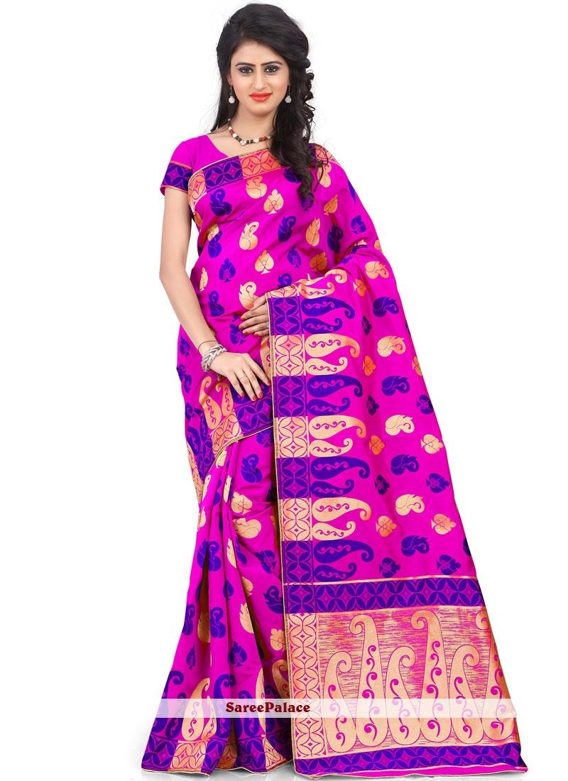 Art Silk Hot Pink Weaving Designer Traditional Saree