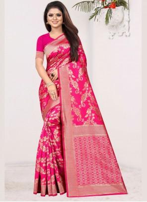 Art Silk Hot Pink Weaving Traditional Saree