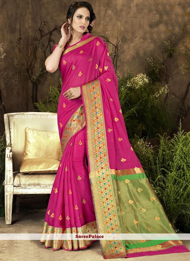 Art Silk Hot Pink woven Work Designer Traditional Saree