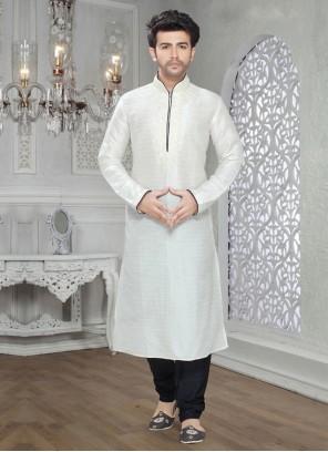 Art Silk Kurta Pyjama in Off White