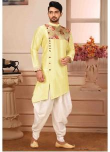 Art Silk Kurta Pyjama in Yellow