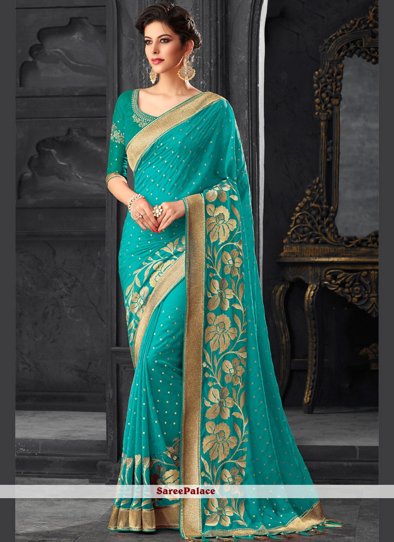 6907753d5ce970 Buy Turquoise Art Silk Lace Designer Traditional Saree Online