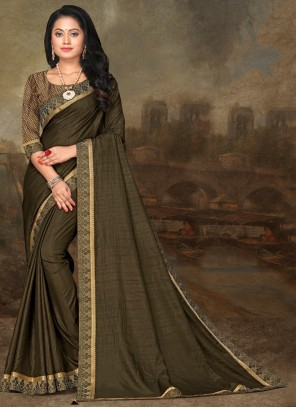 Art Silk Lace Green Classic Saree
