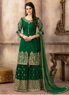 Art Silk Lace Green Designer Palazzo Suit