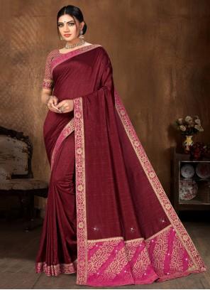 Art Silk Lace Maroon Traditional Designer Saree