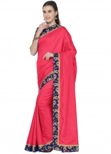 Art Silk Lace Traditional Saree in Hot Pink