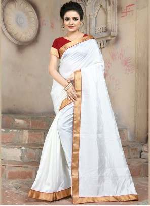 Art Silk Lace White Traditional Saree