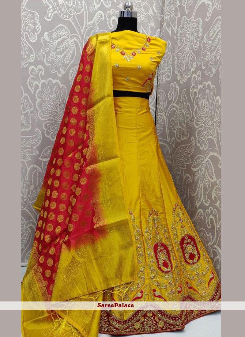 Yellow Art Silk Lehenga Choli