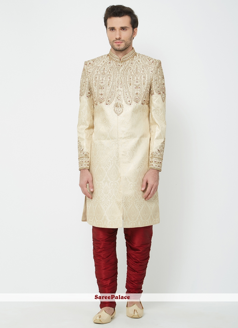 fecbd48d5c Buy Art Silk Machine Embroidery Cream Indo Western Sherwani Online