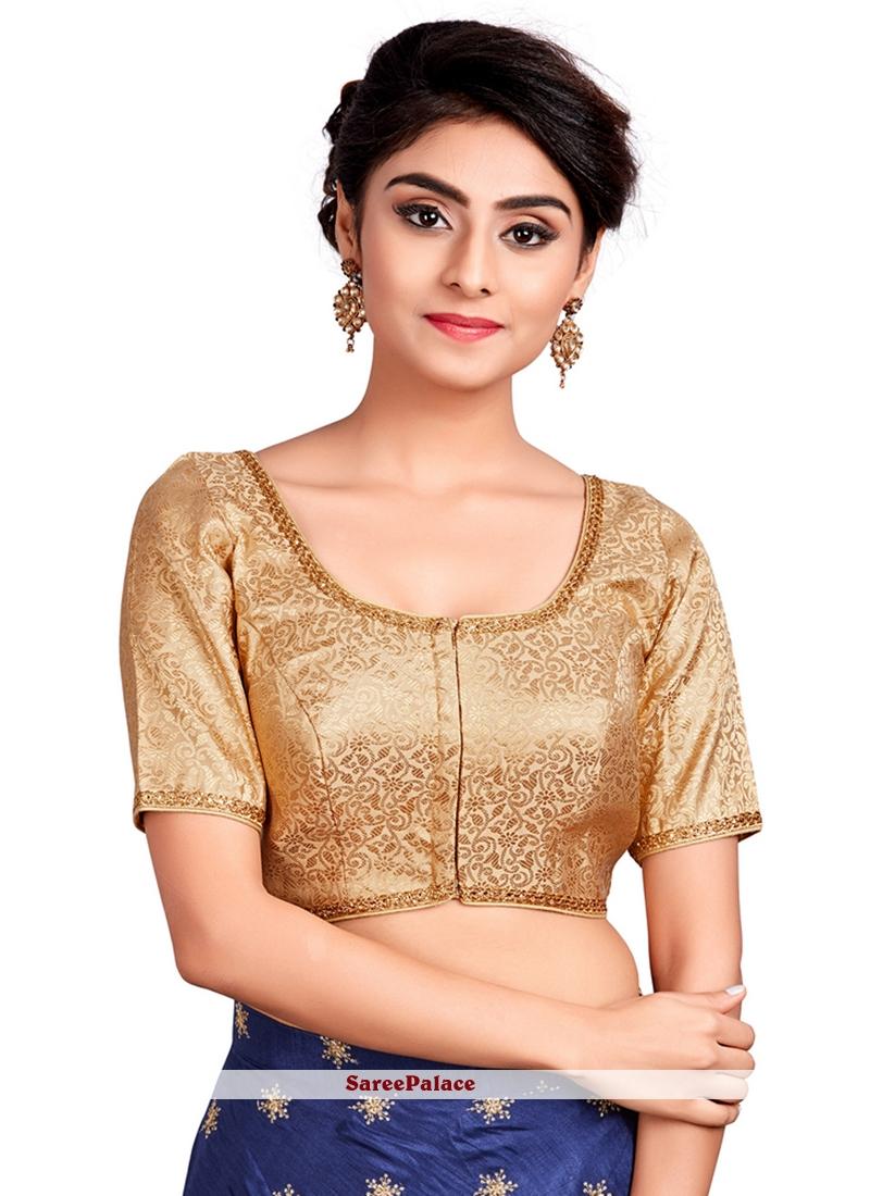 Buy Art Silk Machine Embroidery Designer Blouse In Gold Online