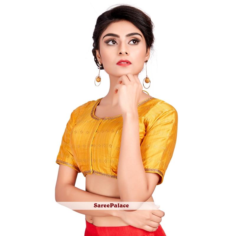 Buy Art Silk Machine Embroidery Designer Blouse In Yellow Online