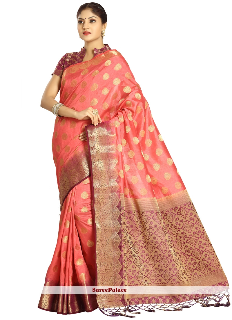 Art Silk Magenta and Peach Traditional  Saree