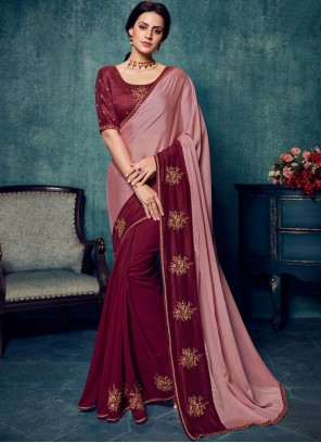 Art Silk Magenta and Pink Embroidered Traditional Saree