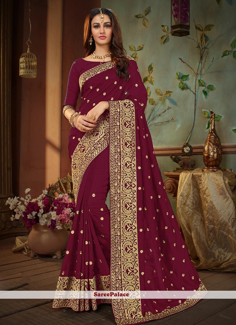 Art Silk Magenta Embroidered Traditional Designer Saree