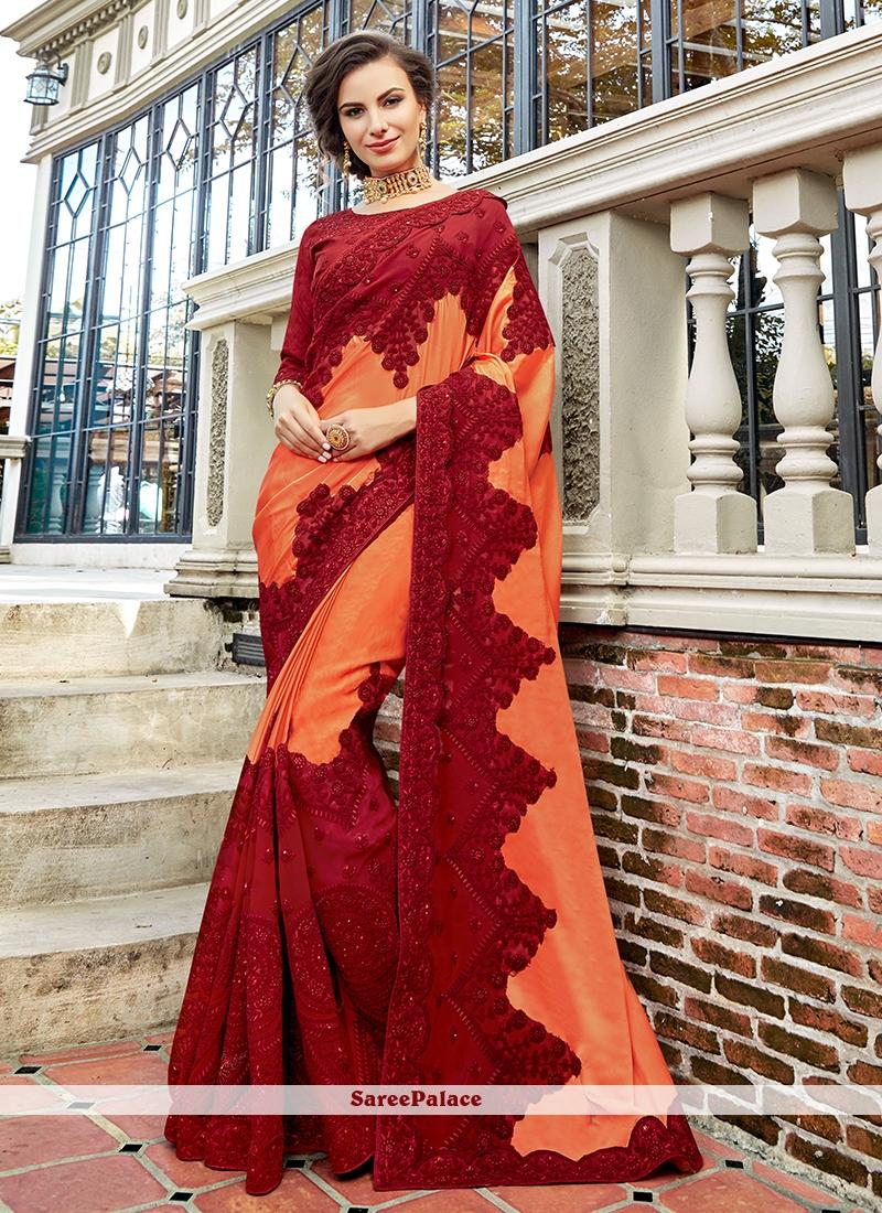 Art Silk Maroon and Peach Designer Traditional Saree