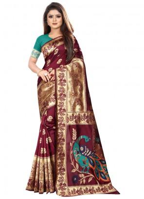 Art Silk Maroon Classic Saree