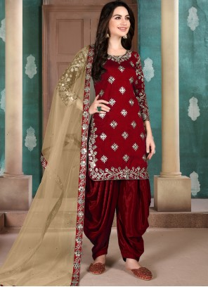 Art Silk Maroon Designer Patiala Suit