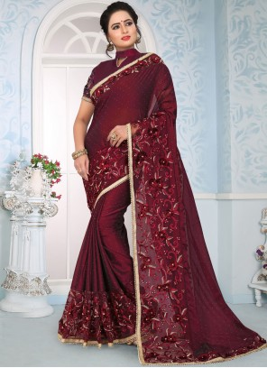 Art Silk Maroon Embroidered Designer Traditional Saree